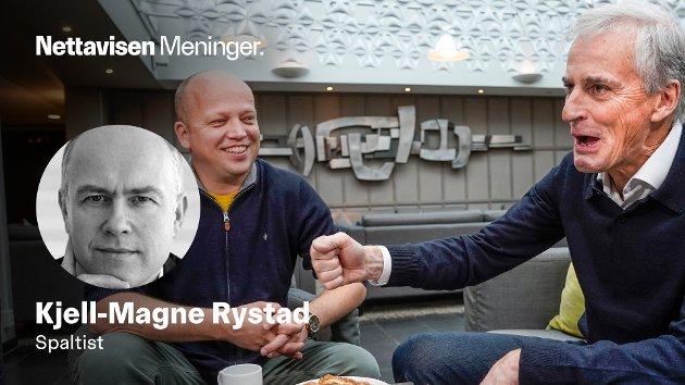 KAFFEPRAT: Tonen er åpenbart god mellom Jonas Gahr Støre og Trygve Slagsvold Vedum under møtene ved Hurdalsjøen.