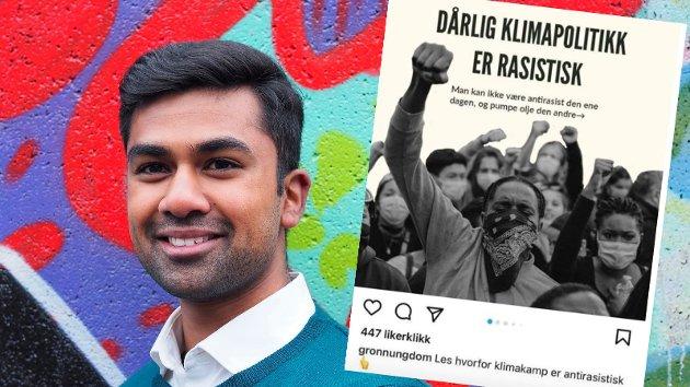 ROBIN HANSSON tar et kraftig oppgjør med Instagram-posten fra Grønn Ungdom (innfelt) som ble postet søndag. Etter litt motbør på blant annet mikrobloggtjenesten Twitter ble innlegget slettet.