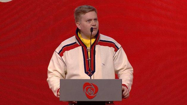 Ronny Wilhelmsen på landsmøtet i Arbeiderpartiet våren 2019. Han er Aps presidentkandidat foran Sametingsvalget til neste år.