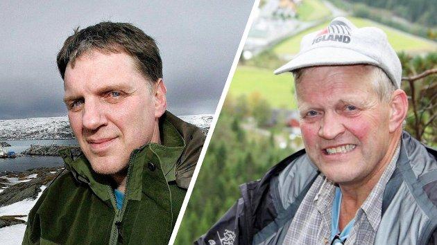 Fiskeren Geir Adelsten Iversen og bonden Nils T. Bjørke, begge stortingsrepresentanter for Senterpartiet.
