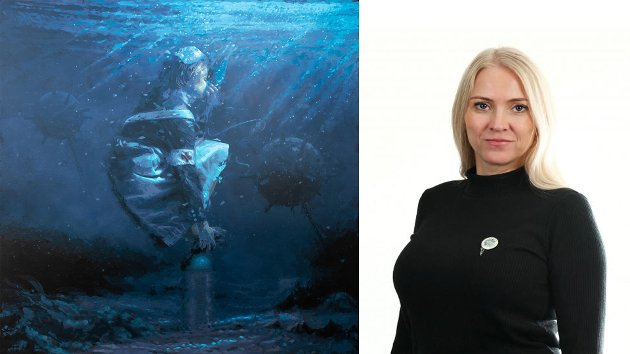"""Kunstneren AFK avdekker en utfordring for mange sykepleiere: Følelsen av å gispe etter luft, skriver Norsk Sykepleier forbund om """"Breathe"""". Forbundsleder Lill Sverresdatter Larsen skriver i denne kronikken om bildet som nylig ble avduket i Tromsø og om bemanningssituasjonen i helsevesenet."""