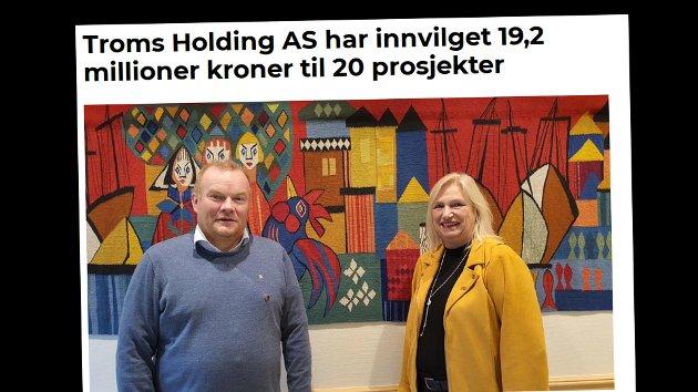 Styreleder i Troms Holding as, Line Fusdahl(H) og fylkesrådsleder Bjørn Inge Mo(Ap).