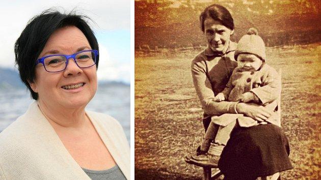 Min bestemor med mamma på fanget. Bildet er tatt i 1937 eller 1938. Bestemor er 28 eller 29 år gammel. Da jeg kjente henne, så hun yngre ut. Dette er et bilde av mine røtter. Det som Nordnorsk julesalme hedrer, skriver Bente Pedersen