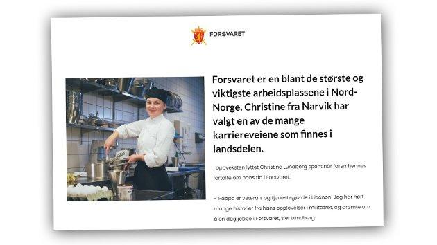 Utsnitt av annonsen fra Forsvaret som Hårek Elvenes viser til i sitt innlegg.