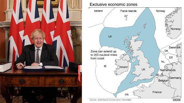 """EU-havet etter brexit, med Storbritannia (UK) som ein """"frittsymjande"""" havnasjon med 200 mils økonomisk sone . Men Boris Johnson og Storbritannia får aldri tilbake den råstoffmakta dei tok med seg inn i EU 1972, skriver Gunnar Grytås."""