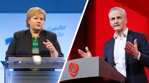 Ap-leder Jonas Gahr Støre og Høyre-leder og statsminister Erna Solberg er begge tilhengjarar av EU-medlemssap og arbeider for dette i alt dei gjer og seier, skriver Olav Flaate.