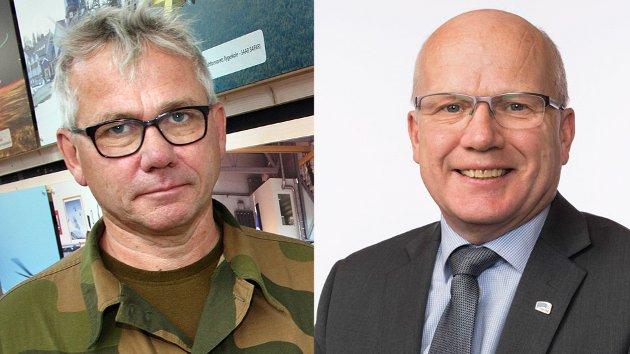 John Berg kommenterer innspill i forsvarsdebatten fra Høyres forsvarspolitiske talsmann Hårek Elvenes (t.h.) og hovedtillitsvalgt for Hæren Pål B. Nygaard.
