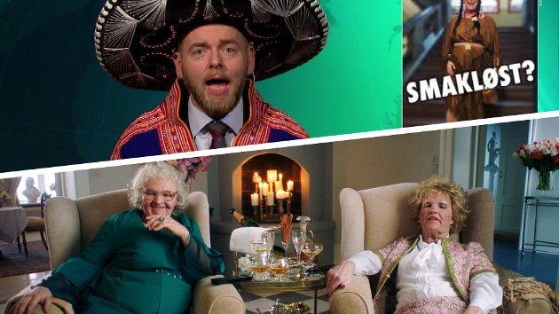 """Fra NRK-TV-seriene """"Ukens vinner"""" og """"Søstrene ser på TV""""."""