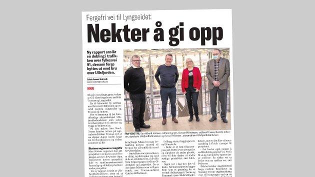 Wiktor Sørensen, styrelederi Ullsfjordforbindelsen AS, korrigerer opplysninger i denne Nordlys-artikkelen 13. mars.