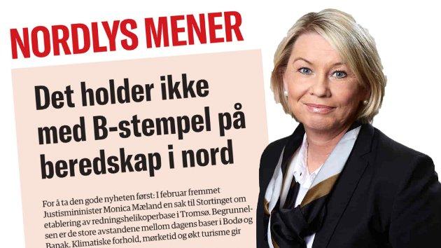 SVARER NORDLYS: Dersom de nye SAR Queen-helikoptrene skulle vært benyttet på Tromsøbasen fra 2022 vil dette kunne skape forsinkelser i et komplekst innføringsprogram. Dette ville ha medført at etableringen av Tromsøbasen måtte utsettes i tid og at det ikke ville vært nok helikoptre til å kunne gjennomføre innfasingen på de resterende basene, skriver justisminister Monica Mæland.