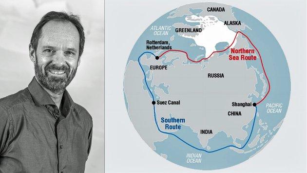 Den nordlige sjørute og Den sørlige rute via Suezkanalen. Situasjonen i Suezkanalen kunne vært mer alvorlig og langvarig, hadde det dreid seg om terror eller krigshandlinger. Usikkerhet tvinger fram alternativer. Står vi foran et rykk i nord? spør Jan-Gunnar Winther.