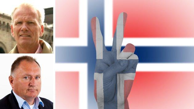 Øystein Steiro Sr. (over) og Sverre Diesen later til å ha nådd en viss grad av enighet, etter duell i flere runder om norsk forsvars- og sikkerhetspolitikk i Nordnorsk debatt. Eller kanskje ikke...?