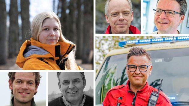 Artikkelforfattere: Over fra venstre: Liv Kummen, Stephen J. M. Sollid og Conrad Bjørshol - under fra venstre: Trond Nordseth, Asgeir M. Kvam og Thomas Berg Green. I tillegg: Jo Kramer-Johansen.