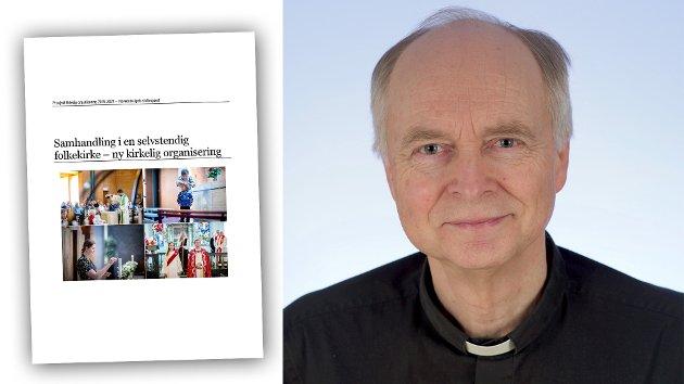 Sokneprest Kjell Y. Riise presenterer og drøfter innholdet i rapporten om nyorganisering av Den norske kirke.  Riise var på 1990-tallet kirkeverge i Tromsø. Han var leder for Kirkelig utdanningssenter i nord i oppstarten. Riise har forsket på ledelse i den lokale kirke.