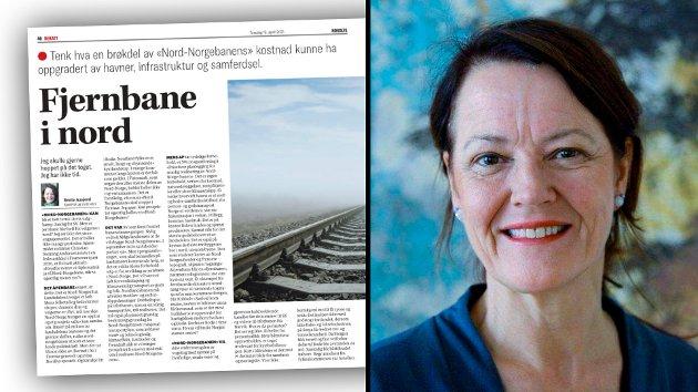Bente Aasjord fikk overveldende respons på sin kronikk om Nord-Norgebanen. Men det gjør henne betenkt at mange kaster seg inn i debatten i kommentarfeltet på Facebook, uten å ha lest stort mer enn tittel og ingress.