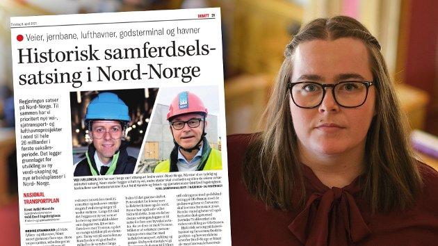 Man kan ikke ta regjeringens forslag til nasjonal transportplan på alvor så lenge Nord-Norgebanen ikke er et prioritert tiltak. At regjeringen nok en gang viser at de heller vil prioritere motorveier i sør framfor tog i nord, er ingenting å slå seg på brystet for, skriver stortingskandidat for Troms SV, Katrine Boel Gregussen.