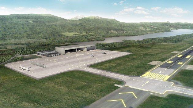 Illustrasjon av nye anlegg på Evenes flystasjon som er under bygging.
