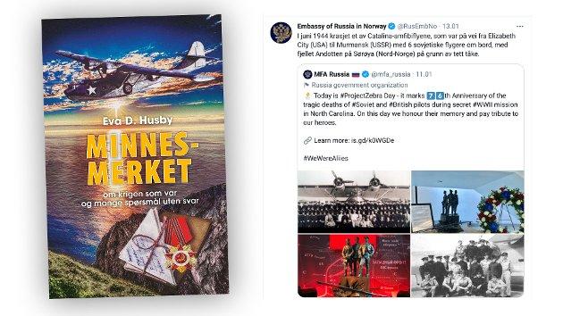 Eva D. Husbys bok og innlegg på den russiske ambassades twitter-konto.
