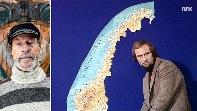 """Å ofre dialekten var smertefullt nok, men å gjøre det for språkfellesskapets beste, føltes så meningsfylt at offeret snarere kjentes heltemodig, især for oss nordfra. Sett i ettertid kan sånt sikkert se ut som naivitetens sanne ansikt, skriver Arnt Ryvold. Bildet til høyre viser Ryvold som programleder i den aller første utgaven av """"Norge Rundt"""" i 1976."""