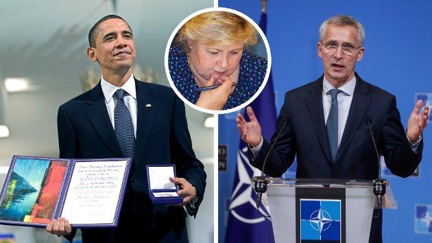 I motsetning til Stoltenberg, lovte Obama at USA skulle redusere den rollen som atomvåpen har i den nasjonale sikkerhetsstrategien – og oppfordre andre til å gjøre det samme. Han ville forhandle om kutt i atomvåpenarsenal og vil ta initiativ til å involvere alle atomvåpenstatene. Erna bør lytte til Obama, ikke til Jens, skriver Lars Egeland.