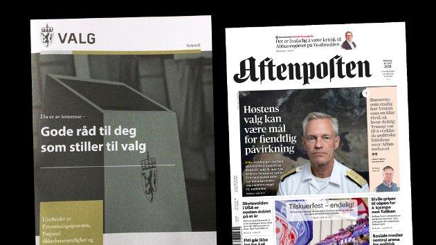 Regjeringens brosjyre til alle stortingskandidatene og oppslaget i Aftenposten som blir kommentert i dette innlegget.