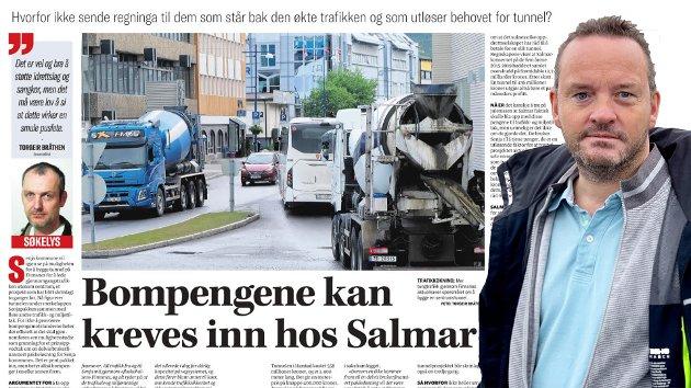 Adm. dir. Geir Ove Ystmark i Sjømat Norge imøtegår Torgeir Bråthens kommentarartikkel i Nordlys om at selskapet Salmar og oppdrettsnæringa bør betale for ny veiløsning gjennom Finnsnes.