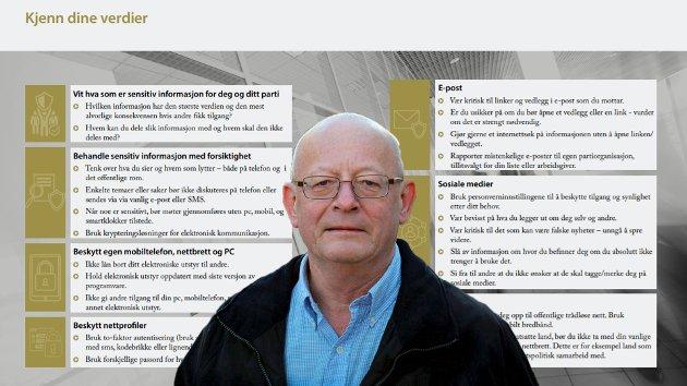 Stortingskandidatene fra Rødt behøver ikke å være redd. Norske myndigheter er ikke ute etter dem. Når de i sitt innlegg selv stiller spørsmålet: «Er dette konspiratorisk, og vel fantasifullt av oss?», vil jeg påstå at svaret er JA, skriver Lars Echroll (bildet) om Rødt-politikerne Hanne Stenvaag og jens Ingvald Olsens kririkk mot en informasjonsbrosjyre til stortingskandidatene. Bildet viser en del av den aktuelle brosjyren.