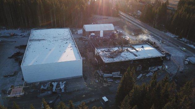 Dronefoto over Metallco Aluminium på Eina lørdag.