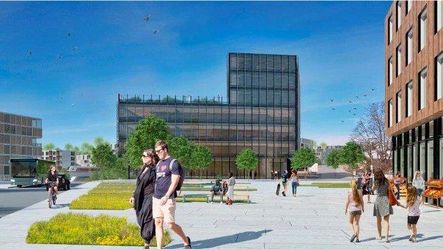 Nytt torg: Asplan Viak mener omforming av område ved krysset Sentralveien/Langbakken kan bli et fint sentrumsområde.