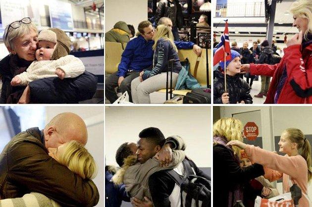 JULEKLEM: Disse bildene er tatt på Sandefjord lufthavn Torp i 2014. Året 2021 blir trolig året da vi igjen kan klemme hverandre.