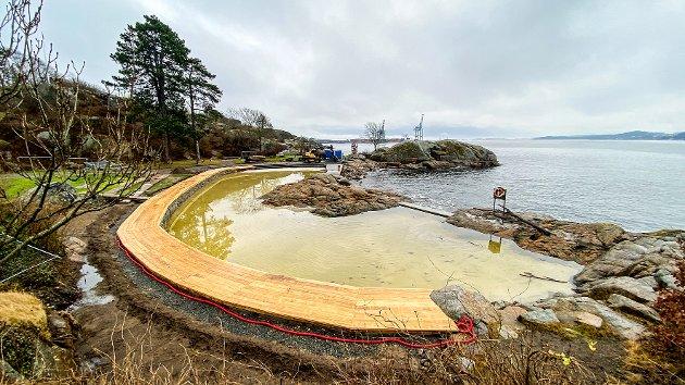 TOLLERODDEN: Krabbedammen må bli en perle når den står ferdig før sommeren.