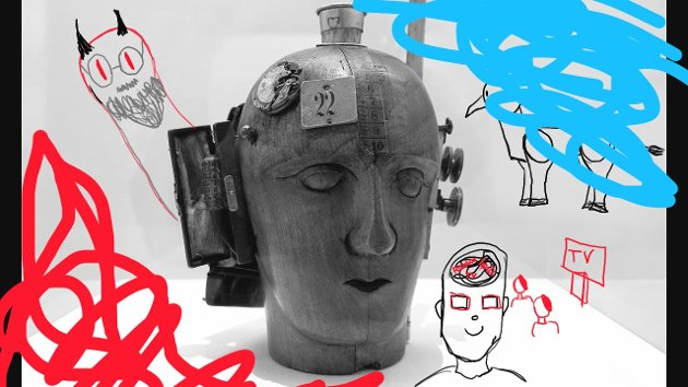 TEGNING:  Hulda Sofie Hvammens tegning av Raoul Hausmanns Mechanical Head (The Spirit of Our Time)