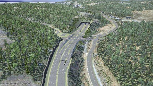 Denne skissen viser hvordan E16 er planlagt i området ved Avtjerna. Nå har Jernbanedirektoratet konkludert med at de ikke anbefaler å lage stasjon på Ringeriksbanen i dette området. Illustrasjon: Statens Vegvesen/ViaNOVA