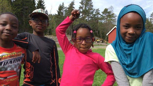 I TOPPFORM: Nasir, Mohammed, Nasira og Kalisha stortrives på det frodige tunet på Rødbysætra.