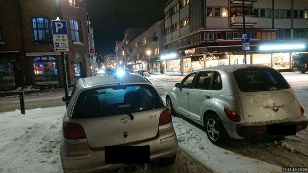GRUNNLAG: Dette bildet er grunnlaget for at Jan Hvidsten fikk bot. Her henger parkeringsskiltet på lyktestolpen.