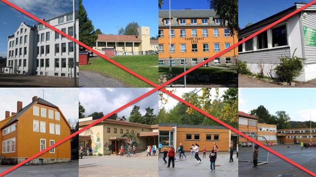 8 skoler som vurderes nedlagt