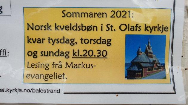 Denne plakaten fekk naturleg nok Bjørnevoll til å forventa ei kveldsgudsteneste.