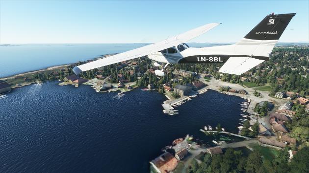 Slik er Tananger havn fremstilt i nye Microsoft Flight Simulator.