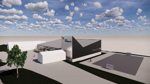 Arkitekttegning av flerbrukshallen i Straumsnes. Det hvite bygget til venstre er dagens idretts- og skytterhus på Leite.