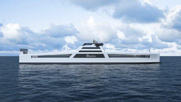 Stein Fredrik Solli er skeptisk til planene om hydrogenproduksjon. Bildet viser hydrogenskip som Wilhelmsen-rederiet planlegger, og som er tenkt å på en lasteskip-rute som skal gå mellom Kristiansund og Stavanger.