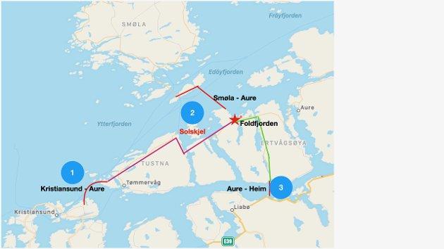 Sentralt i det store veiprosjektet er Aure og det nye veikrysset i Foldfjorden. Legg merke til på kartet at fjordkryssing nr 2 over Edøyfjorden kommer i land i Sandshamna i Aure.