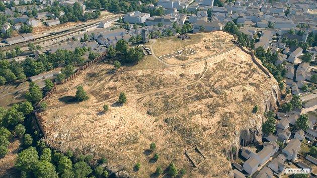 RINGMUR: Illustrasjonen viser hvordan ringmuren er planlagt bygd opp i et strekk mot sør og et mot nordøst.