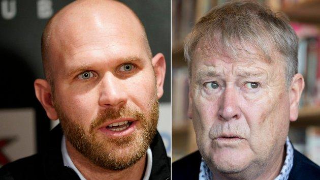 Sportslig leder Mikael Dorsin (til venstre) i Rosenborg og trener Åge Hareide.