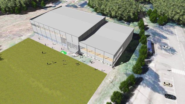 FIKK GRØNT LYS: Slik ser planleggerne for seg Slattumhallen ved Slattum skole - et prosjekt som nå nærmer seg igangsetting.