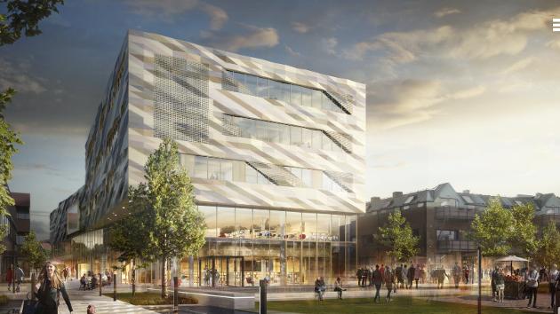 Visualisering av det planlagte Kulturkvartalet i Vestby.
