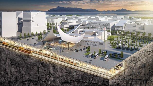 Dårlig idé: En tenkt ny jernbane i Ny by. Vakker illustrasjon, men  å forlenge jernbanen til Langstranda vil sette mye «på vent» og hindre en naturlig utvikling av Bodøs logistikkfortrinn. Illustrasjon: Bazeni