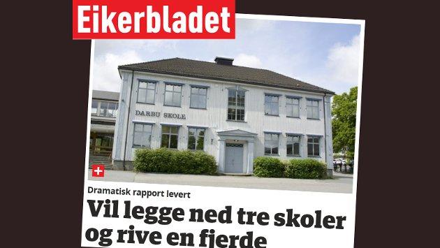 Skjermdump fra eikerbladet.no 15. mai 2018
