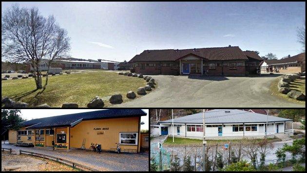 Hvaler ungdomsskole (øverst) er den Hvaler-skolen som har kommet først i køen for utbedring. Frank Pettersen tror det betyr at det ikke vil skje en dritt med de andre, Floren skole på Skjærhalden (nede til venstre) og Åttekanten på Vesterøy.