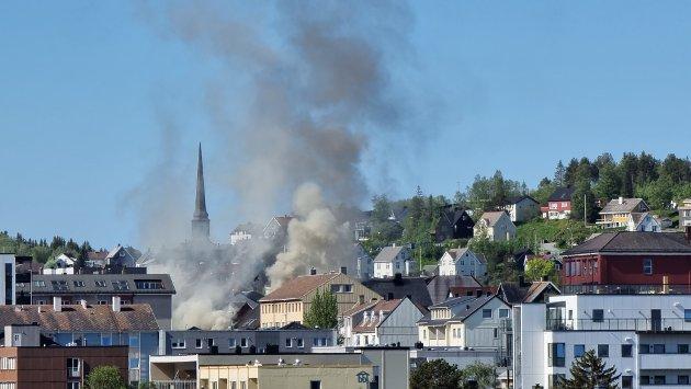 Slik så det ut fra Torvet søndag morgen