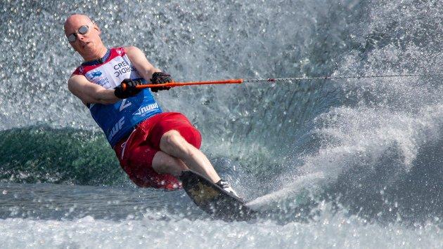 VM i vannski for parautøvere på Siap. Bjørn Gulbrandsen fra Eidsvoll.